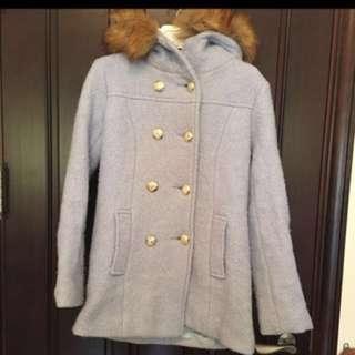 🚚 韓國雙排扣毛領連帽毛呢保暖外套
