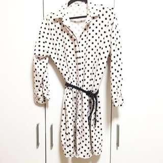 #huat50sale Polka Dot Shirt Dress