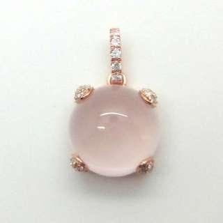純銀鍍18k玫瑰金頸鍊連天然粉紅晶或藍玉髓吊咀