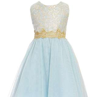 RARE EDITIONS 5 - 6 yrs old - Light Blue Brocade Glitter Elegant Party Dress
