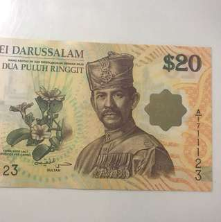 Brunei 20 Dollar Polymer Note With ending 123
