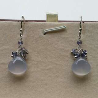 純銀天然藍玉髓吊耳環