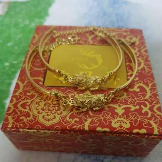 Gold Plated Pixiu Bracelet Pair