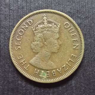 1964 Hong Kong (British) Queen Elizerbeth The Second Nickel Brass  10 Cents 香港 伊麗莎白二世 銅鎳幤 一毫