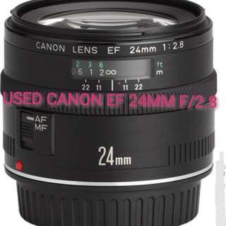 USED CANON EF 24MM F/2.8 LENS (Full Frame Lens)