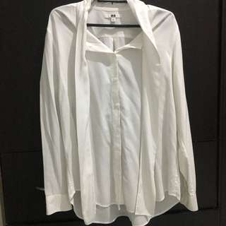 Uniqlo white office blouse