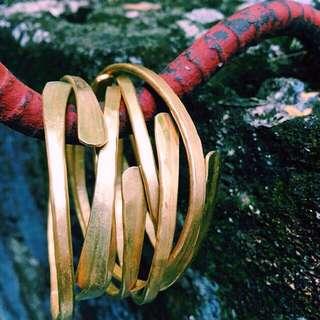 Flattened Raw Brass Adjustable Bangle