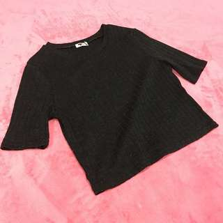 Free Shipping !! Size L Temt Black Quarter Sleeve Tops