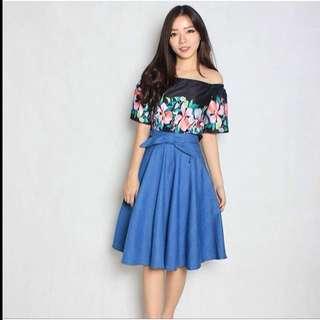 Sabrina Black Top and Skirt Blue