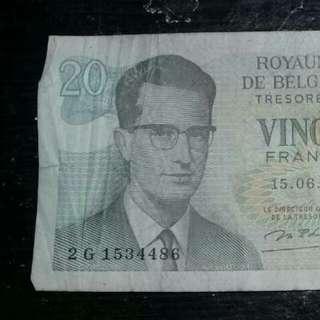 Wang Kertas Lama Belgium 15.06.64 VINGT FRANC 20