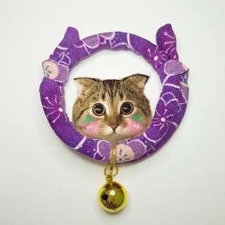 Oui.abi Japan Kimono Cat Dog Rabbit Pet Collar - Purple bloom round gold
