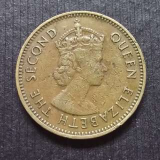 1965 Hong Kong (British) Queen Elizerbeth The Second Nickel Brass  10 Cents  香港 伊麗莎白二世 銅鎳幤 一毫