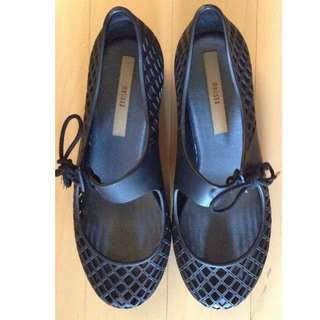 Melissa Black Lattice Kitten Flats Lace Up Mary Janes 35/36 5/6