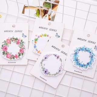 [Instocks] Floral Wreath Sticky Note