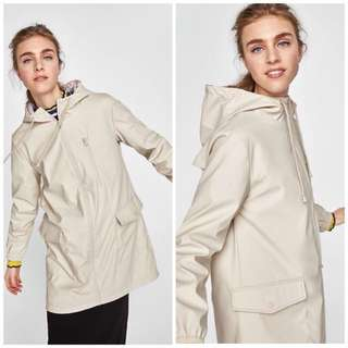 OshareGirl 02 歐美春季新款純色防潑水防風外套風衣斗篷連帽拉鏈風衣