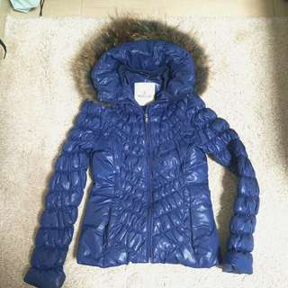 Moncler style quality-cutting non-bulky down jacket with real lively fur,size S