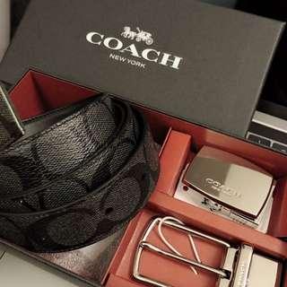 Coach 黑色皮帶雙扣套盒