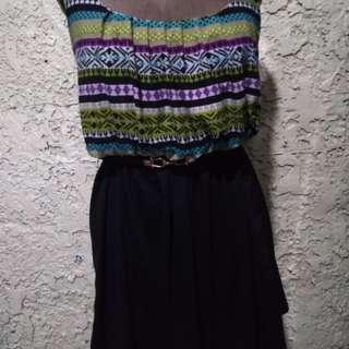 Aztec print braided strap dress