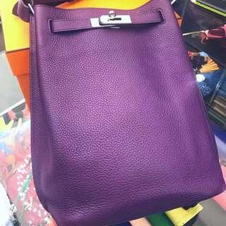 正品 95%新 Hermes So Kelly 22 5L Ultraviolet 紫色內併深藍色 極少有美色!