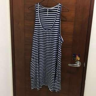 寬鬆甜美可愛藍白條紋海軍風裙子