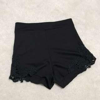 LACE black high waisted  shorts
