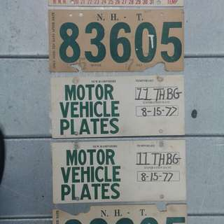 5 New Hampshire vintage temporary auto plates