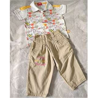 SET OF BEIGE PANTS & MIKI SHIRT 2T-3T