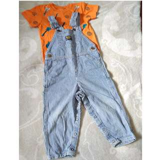 SET OF GUITAR PATTERN TSHIRT & OSHKOSH OVERALL 3T - 4T