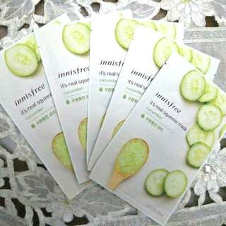 Innisfree It's Real Squeeze Mask -Cucumber (Set of 5)