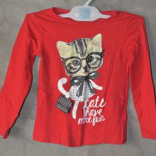 H&M red cat design long sleeves for 2t; Authentic (not over run)