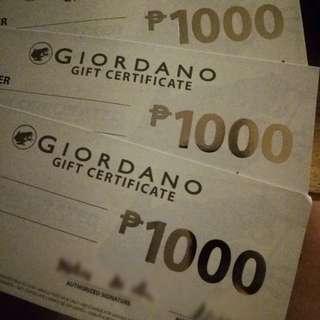 Giordano gift certificates