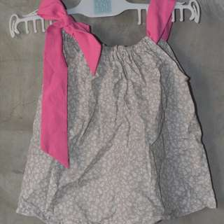 Gingersnaps tie-up sleeveless top; can fit up to 2t