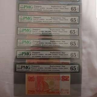 ZZ 100000 to ZZ 900000 Ship $2 (Orange) Replacement Thousandth Series 9pcs ALL PMG 65 GEM UNC EPQ