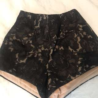 Cameo lace black high wasted shorts