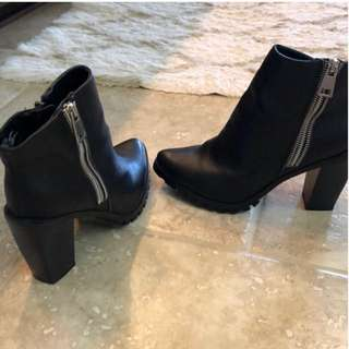 Mossimo Double Zip Ankle Boots Black