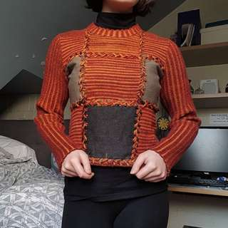 Knit patchwork sweater