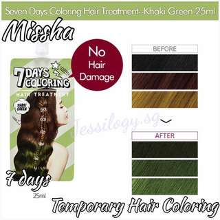 INSTOCK Missha 7 Days Temporary Hair Coloring Dye in KHAKI GREEN / Missha 7 Days Coloring Treatment - KHAKI GREEN / Korean Temporary Hair Dye
