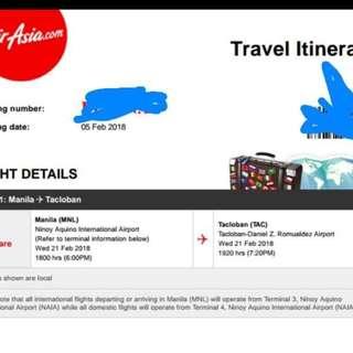 One way plane ticket. Manila - Tacloban