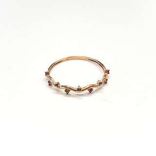 14k rose gold ring with tiny ruby