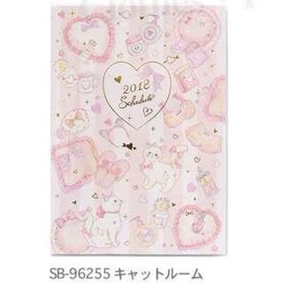 日本 ClothesPin 粉紅色彩繪燙金甜美貓咪 Cat B6 2018 Schedule 月間手帳 記事簿 記事本 行程曆