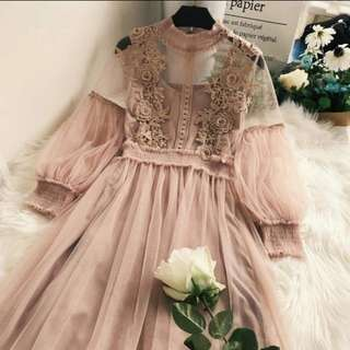 Rose Gold Laced Floral Dress