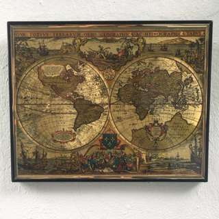 Antique Gold World Map