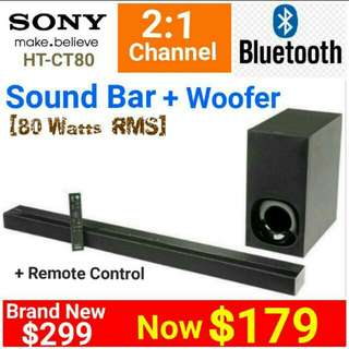 SONY SOUND BAR + WOOFER for TV with Bluetooth  2:1 channel built-in Master Amplifier (80 Watts RMS)  Model: HT-CT80 (Brand New In Box And Sealed) UP: $299  Special: $179.