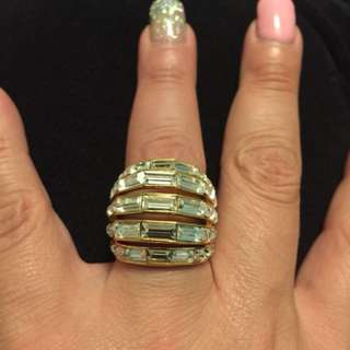 Gold plated cubic zirconia Coach Ring