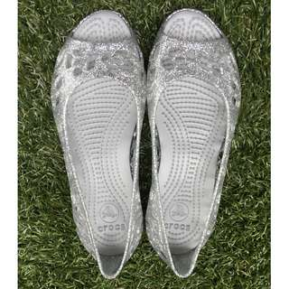 CROCS Girl's Silver Sparkly Sandals