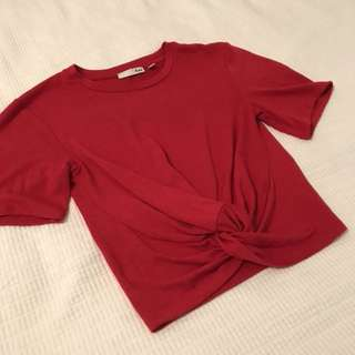 Red twist crop top size Small