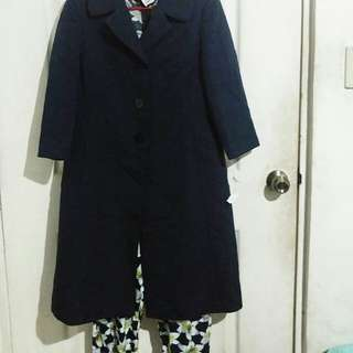 Navy blue thick coat with floral pattern