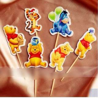 12pcs Winnie The Pooh Cupcake Toppers Cake Topper Muffin Decoration Baking Picks Birthday Party