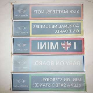 Set of 5 MINI windscreen stickers