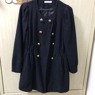 黑色英倫雙排金扣外套